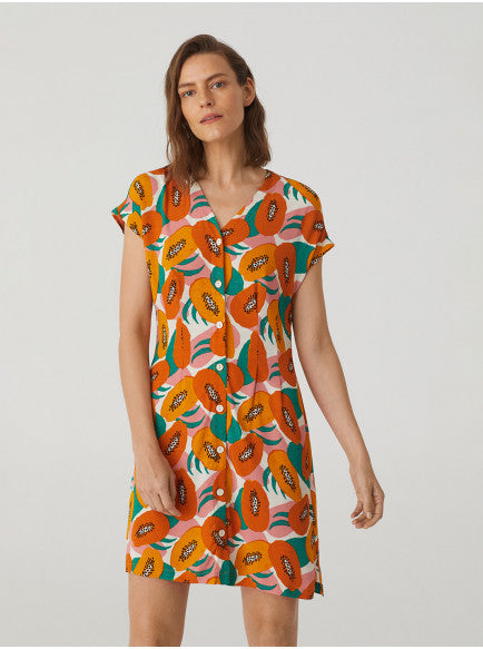 Small Papaya Print V-Neck Dress