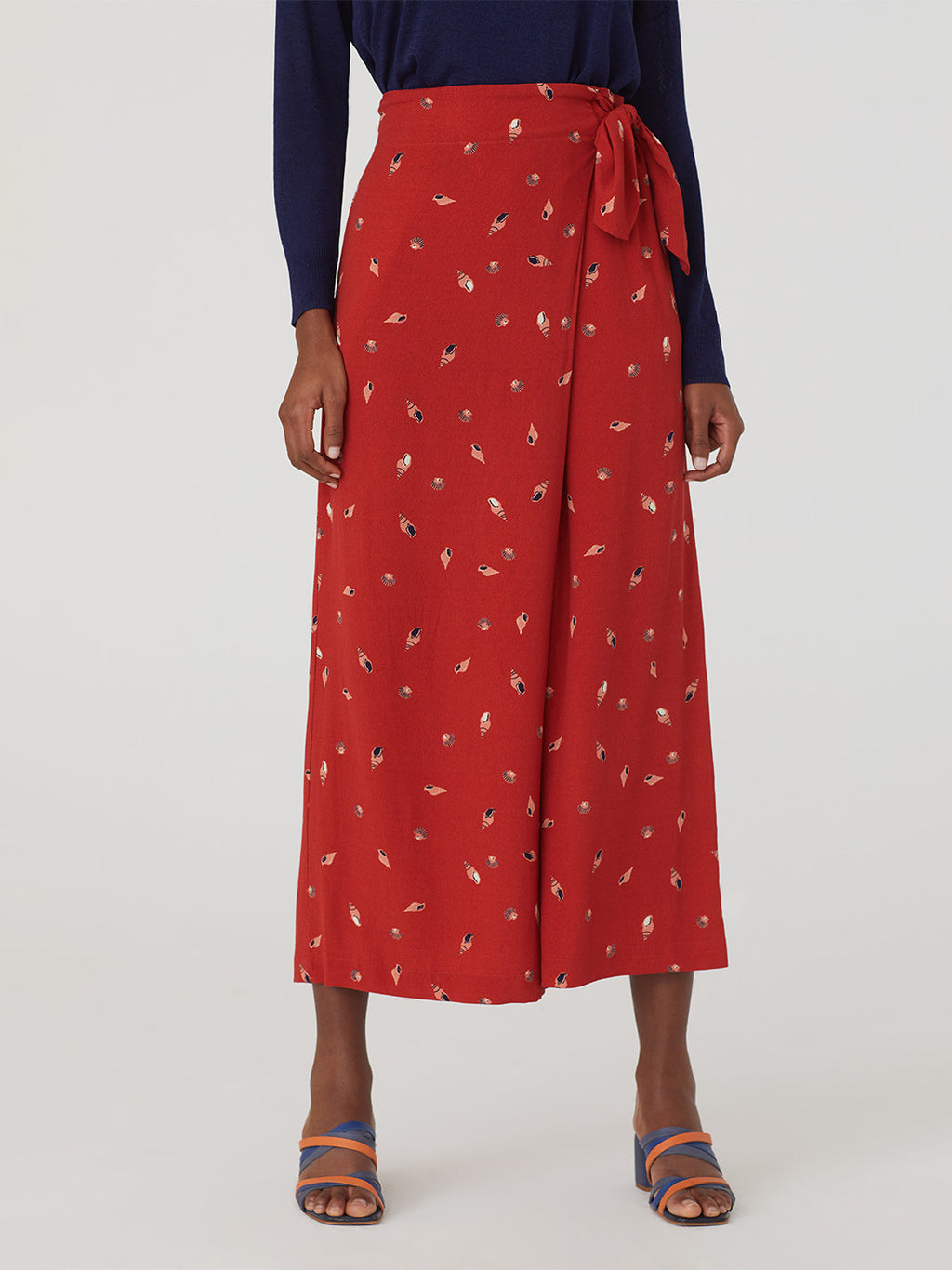 Seashell Skirt Pant in Dark Coral