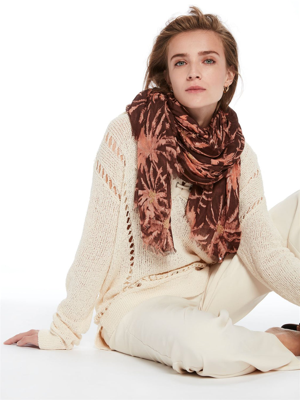 Brown Palm Scarf