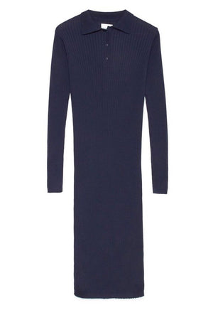 Rib Polo Dress in Navy