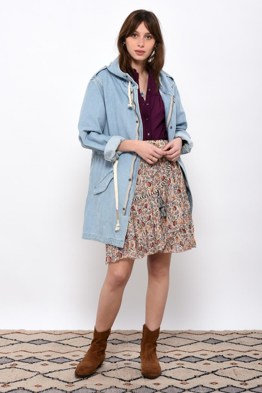 Vagabond Hooded Jacket in Bleach Blue