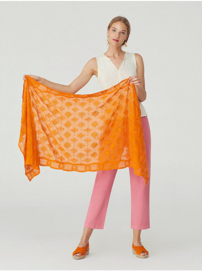 Cutwork Embroidery Scarf in Orange