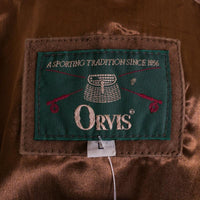 ORVIS Suede Jacket Size L Tobacco Brown Made in Italy