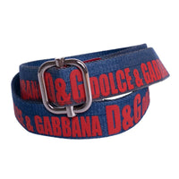 D&G Belt in Blue Nylon with Red Lettering / Chrome Buckle