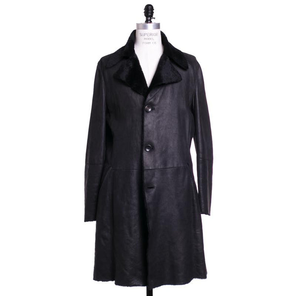 Giorgio Armani Shearling Coat Slim 42 (52) Black Lambskin Leather