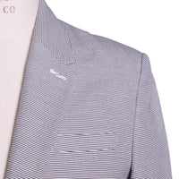 Marc Jacobs Suit Size L White Striped Jersey Cotton Slim Fit