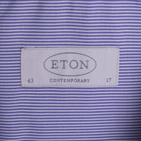ETON Contemporary Shirt Size 17 Blue Pencil Stripe Poplin