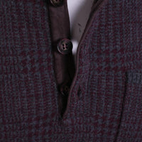 Hickey Freeman Sweater Size L Maroon / Gray Plaid Button Mock