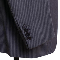 ISAIA Napoli Suit Size 43 (54) L Gray Stripe Wool / Cashmere Base S
