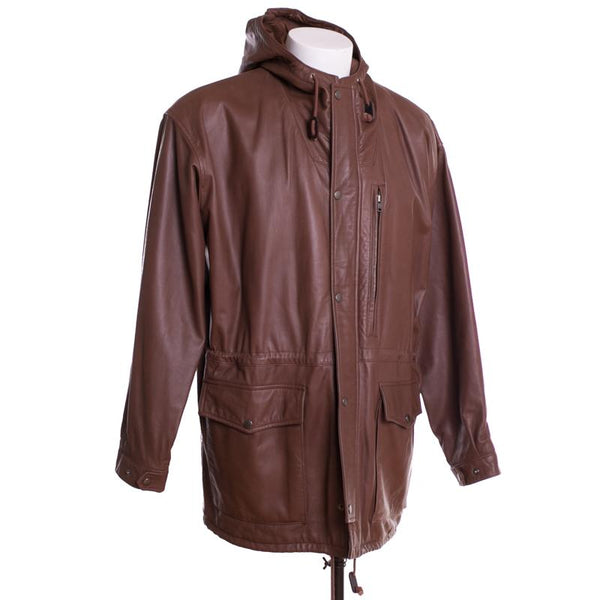 Polo Ralph Lauren Leather Jacket Size M Brown Hooded
