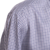 Peter Millar Sport Shirt Size XL White Gray Navy Checked Cotton