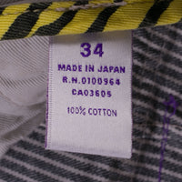PRPS Jeans Size 34 Gray Conductor Stripe P35 P11A Made in Japan