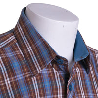 Jared Lang Sport Shirt Size L Button Front Blue / Brown Plaid