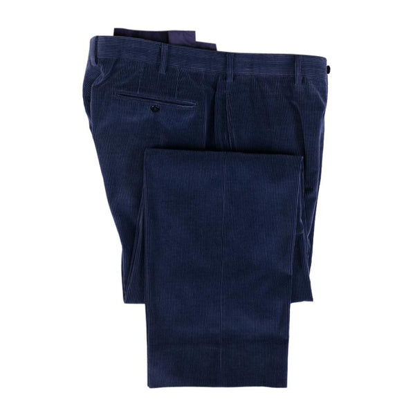 Incotex Pant Size 38 Blue Cashmere Cotton Wide Corduroy