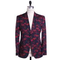 Marc Jacobs Flamingo Print Blazer 42 (52) Navy Blue Two Button