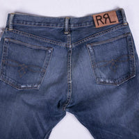 RRL Jeans Size 34 Low Straight Distressed Indigo Selvedge