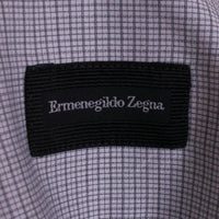 Ermenegildo Zegna Dress Shirt Size 17 Gray Mini Check
