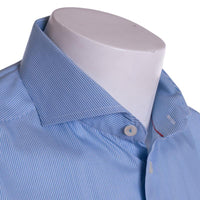 Eton Dress Shirt Size 16 Teal Navy Blue Shadow Stripe