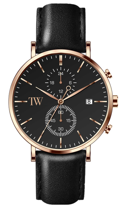 Aurora - Rose Gold / Black - TimeWise Watch Co.