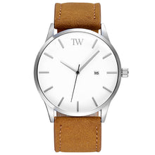 The Minimalist - Silver / White / Brown - TimeWise Watch Co.