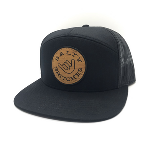 NEW!! Salty Britches Black 7 Panel Snap Back