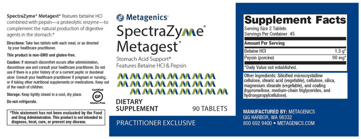 Metagenics SpectraZyme Metagest