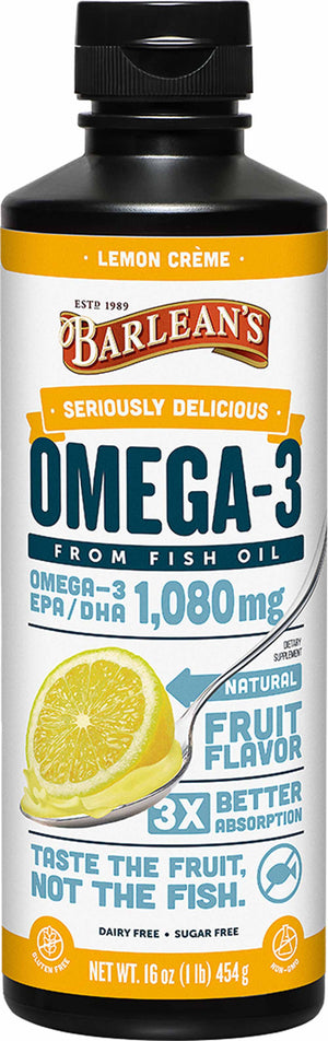 Barlean's Organic Oils Seriously Delicious™ Omega-3 Fish Oil Lemon Creme