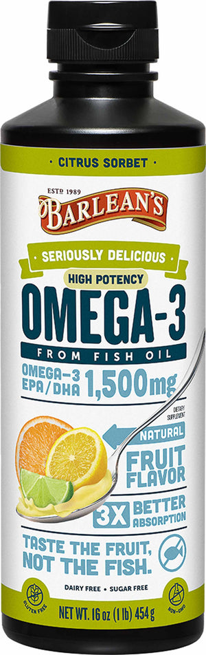 Barlean's Organic Oils Seriously Delicious™ Omega-3 High Potency Fish Oil Citrus Sorbet
