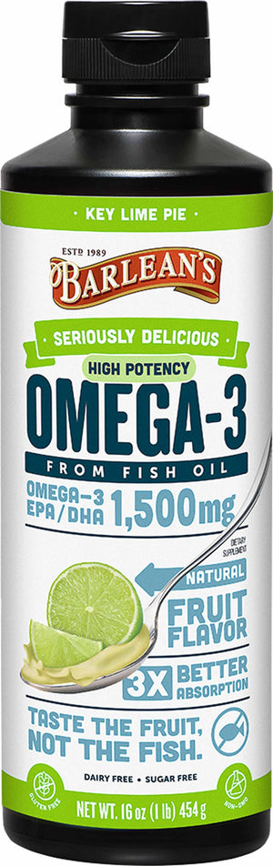 Barlean's Organic Oils Seriously Delicious™ Omega-3 High Potency Fish Oil Key Lime Pie