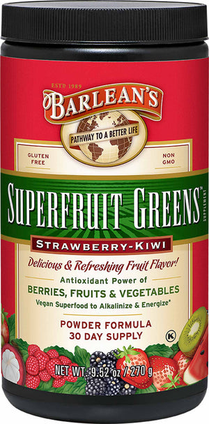 Barlean's Organic Oils Superfruit Strawberry Kiwi Greens™ Powder