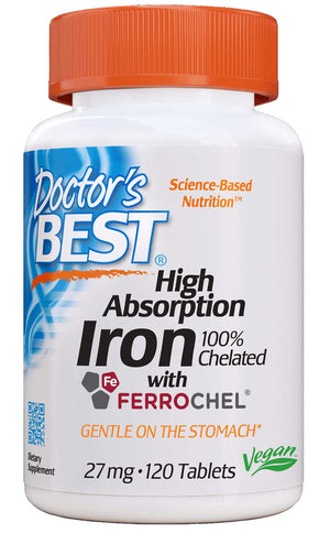 Doctor's Best Iron 100% Chelated with Ferrochel