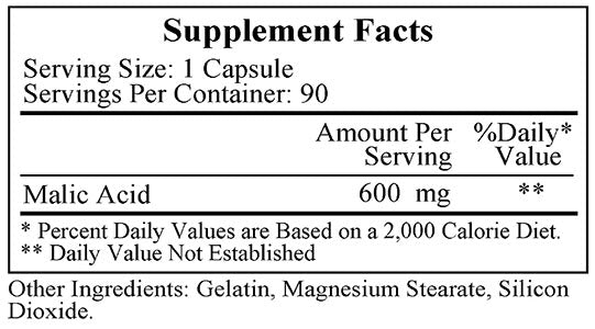Ecological Formulas/Cardiovascular Research Malic Acid 600mg