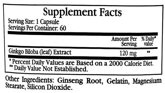 Ecological Formulas/Cardiovascular Research Ginkgo Biloba 120mg