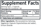 Kirkman Alpha Lipoic Acid 25 mg Ingredients