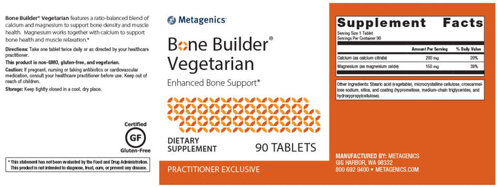 Metagenics Bone Builder Vegetarian
