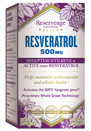 Reserveage Nutrition Resveratrol With Pterostilbene 500mg