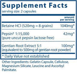 Vital Nutrients Betaine HCL Pepsin Gentian Root Extract Ingredients