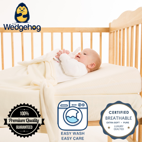 Luxury Quilted Wedgehog® Deluxe - 70cm Cot Bed Reflux Wedge - includes Free Bundled Reflux eBook