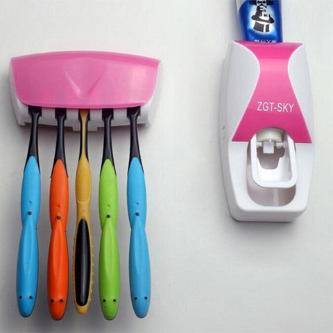 Toothpaste Dispenser + Toothbrush Holder Wall  Bath set