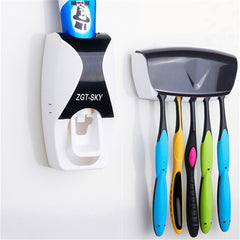 Image of Toothpaste Dispenser + Toothbrush Holder Wall  Bath set