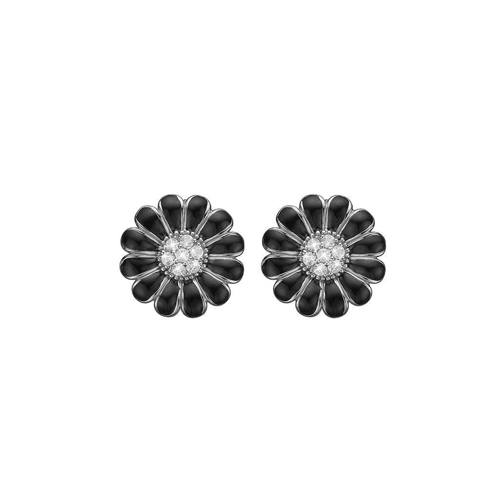 Christina ørestikkere - 8 mm Black Marguerites-Christina Watches-Guldsmed Lauridsen