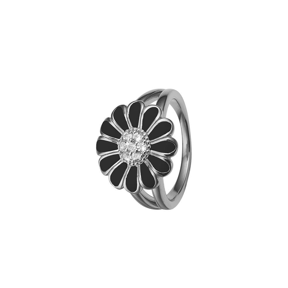 Christina ring - Topaz Big Black Marguerite-Christina Watches-Guldsmed Lauridsen