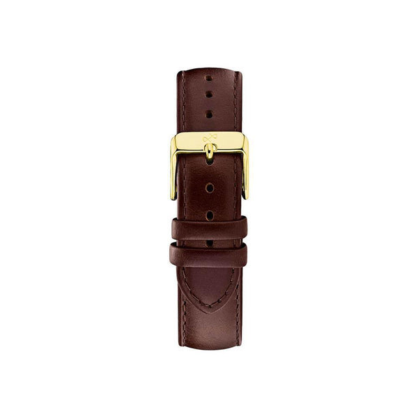 Pin buckle - dark brown leather/gold-About Vintage-Guldsmed Lauridsen