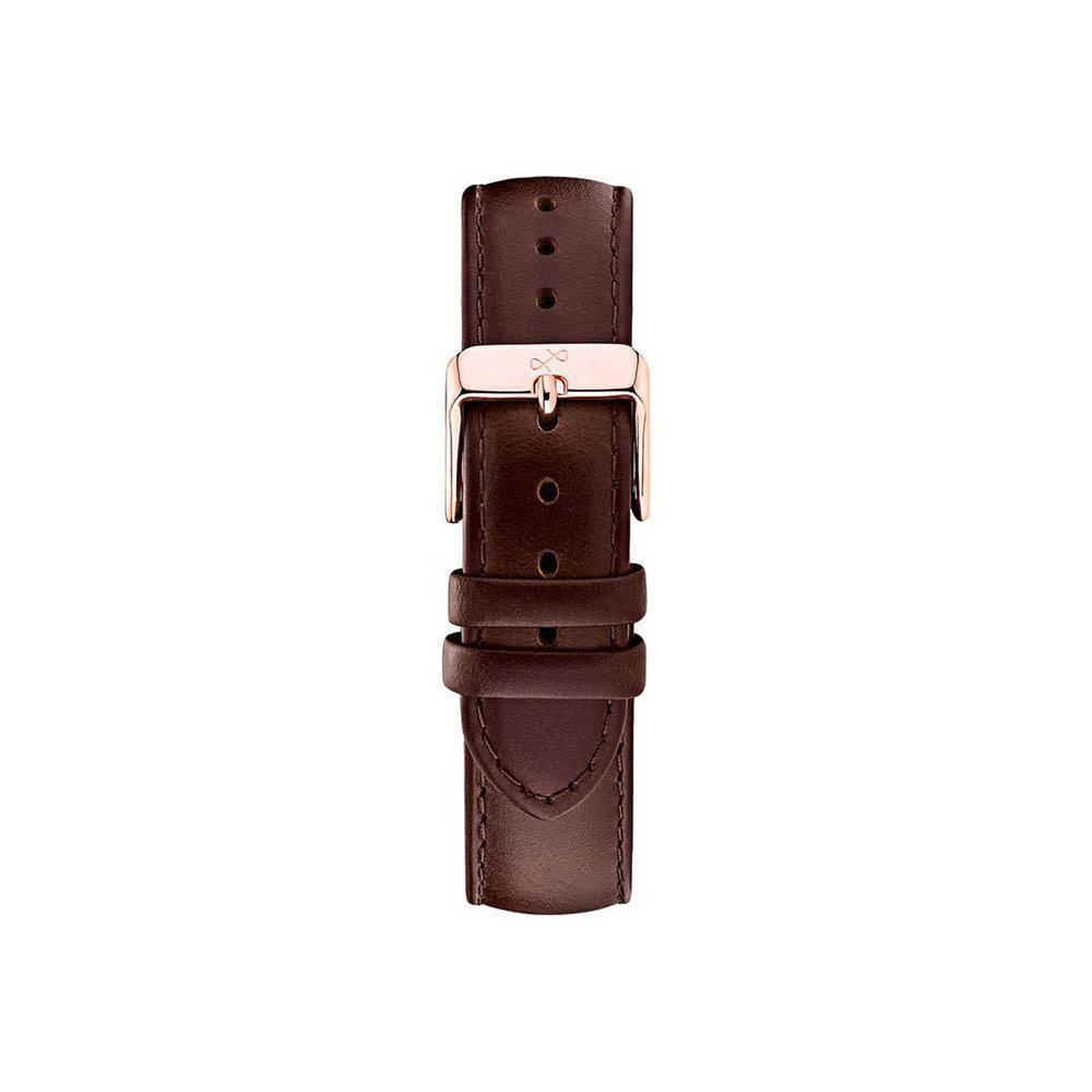 Pin buckle - dark brown leather/rose gold-About Vintage-Guldsmed Lauridsen