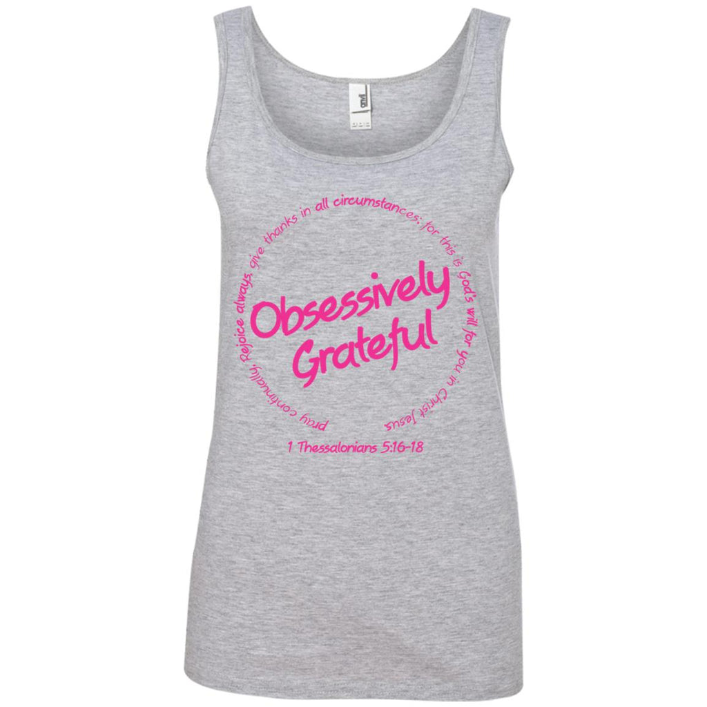 Grateful (Pink) - Ladies 100% Ringspun Cotton Tank Top