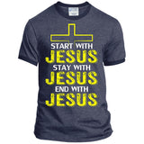 Start, Stay, and Finish With JESUS Mens Ringer Tee