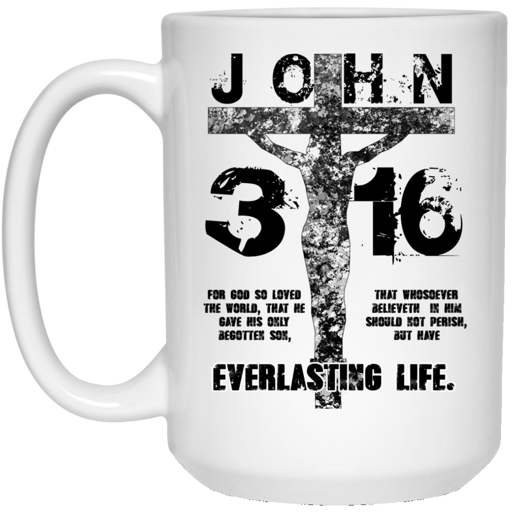 John 3:16 (Black) - 15 oz. White Mug