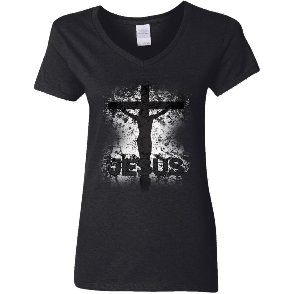 JESUS Crucified - Ladies' 5.3 oz. V-Neck T-Shirt