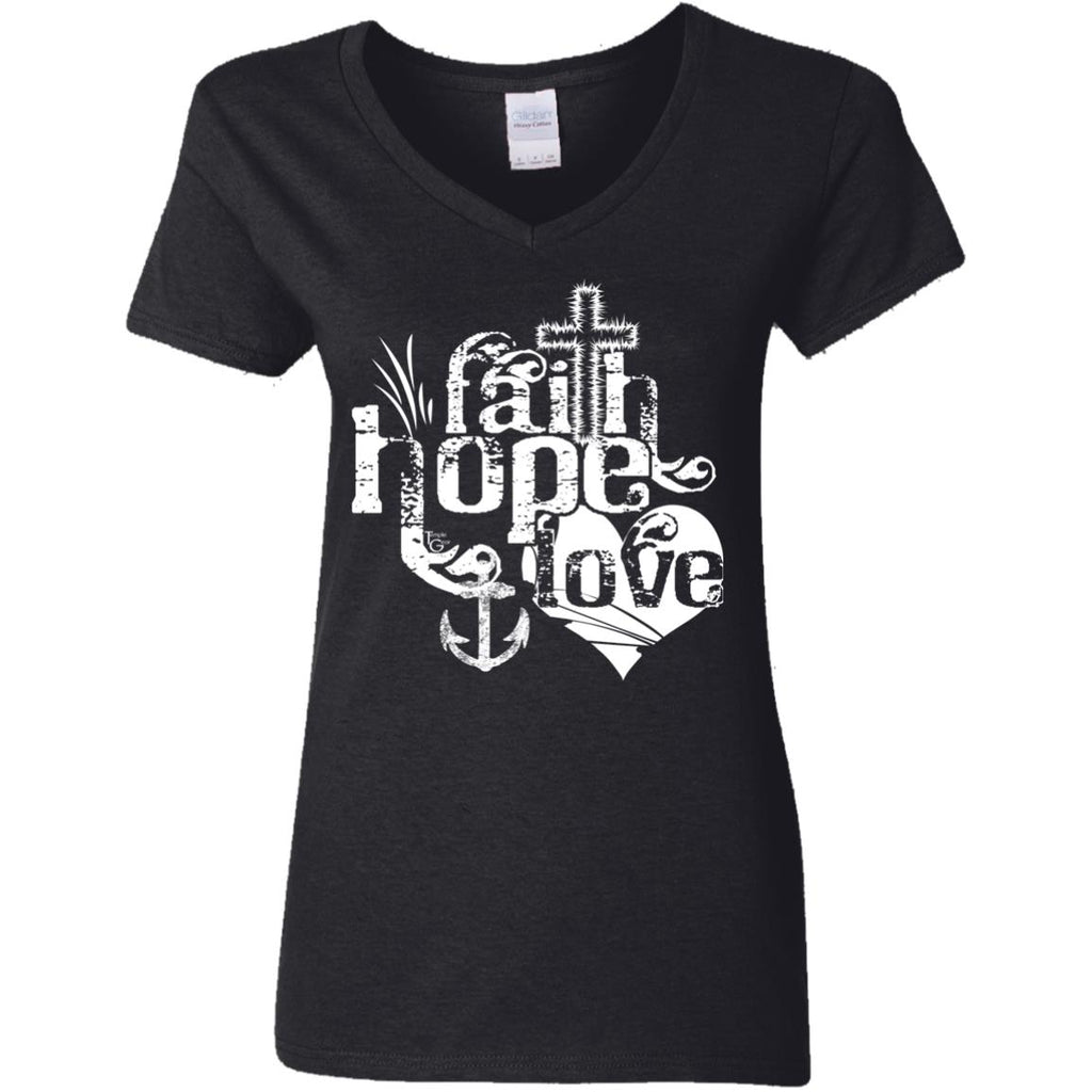 Faith, Hope, Love (White) - Ladies' 5.3 oz. V-Neck T-Shirt