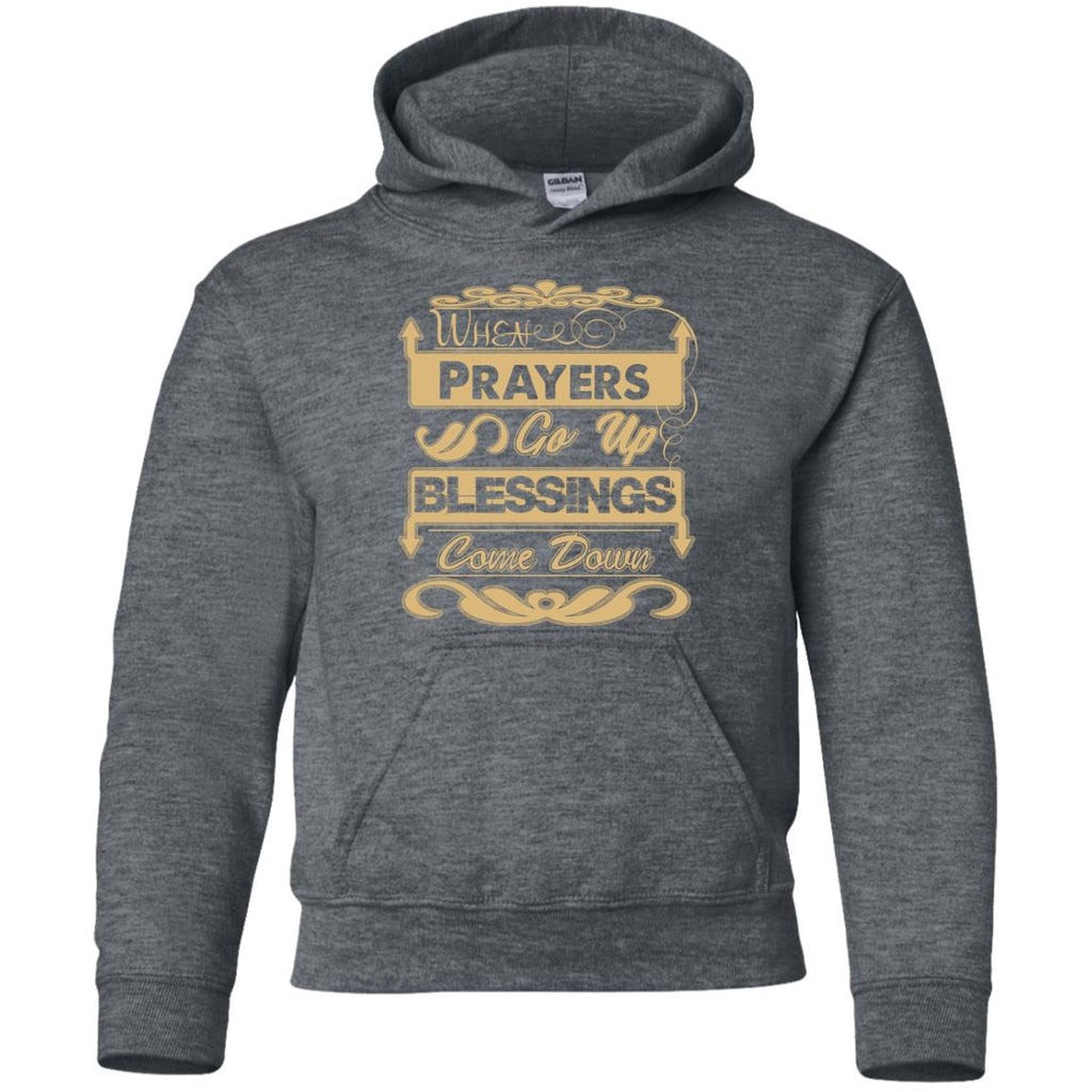Prayers Up (Tan) - Youth Pullover Hoodie